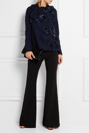 Biyan Carla embellished appliquéd wool-blend jacket