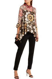 Biyan Josia embelllished printed silk-blend peplum top