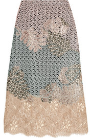 Nemesis appliquéd lace midi skirt