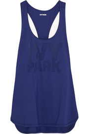 Perforated stretch-jersey tank