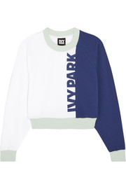 Cropped color-block cotton-jersey sweatshirt