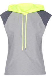 Paneled tech-jersey hooded top