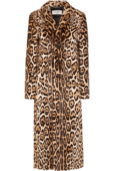 1c23492dedb5 Saint Laurent. Leopard-print goat hair coat