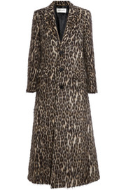 Leopard-print brushed knitted coat