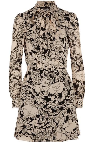 Saint Laurent - Pussy-bow Floral-print Crepe Dress - Ecru