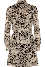 Saint Laurent Pussy-bow floral-print crepe dress