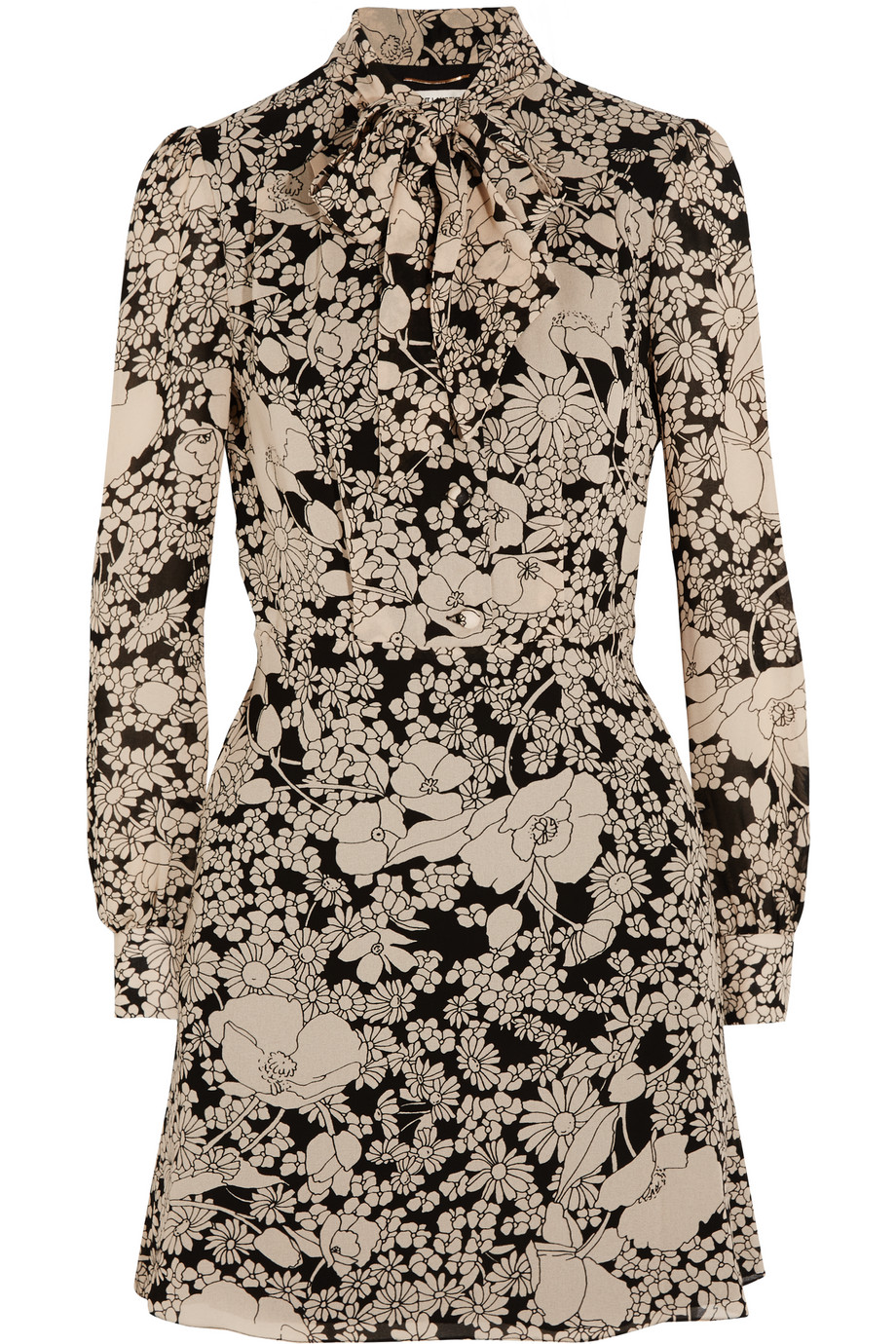 Saint Laurent Pussy-Bow Floral-Print Crepe Dress, Ecru, Women's - Printed, Size: 36