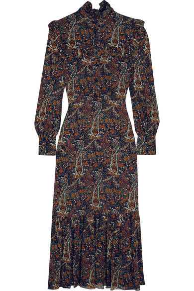 Saint Laurent - Ruffled Paisley-print Crepe Midi Dress - Brown