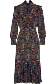 Saint Laurent Ruffled paisley-print crepe midi dress
