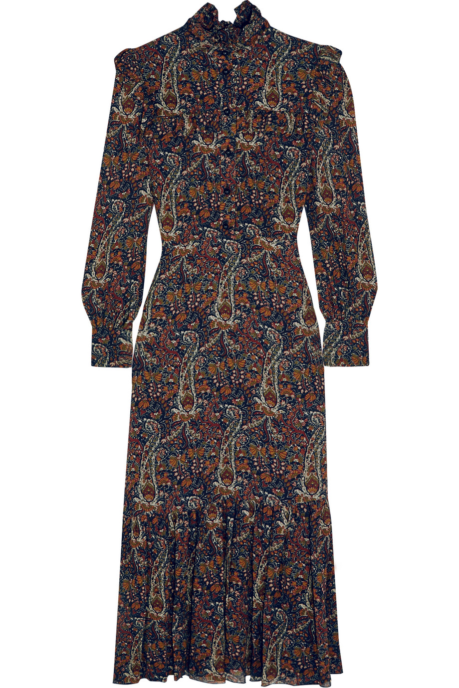 Saint Laurent Ruffled Paisley-Print Crepe Midi Dress, Size: 34