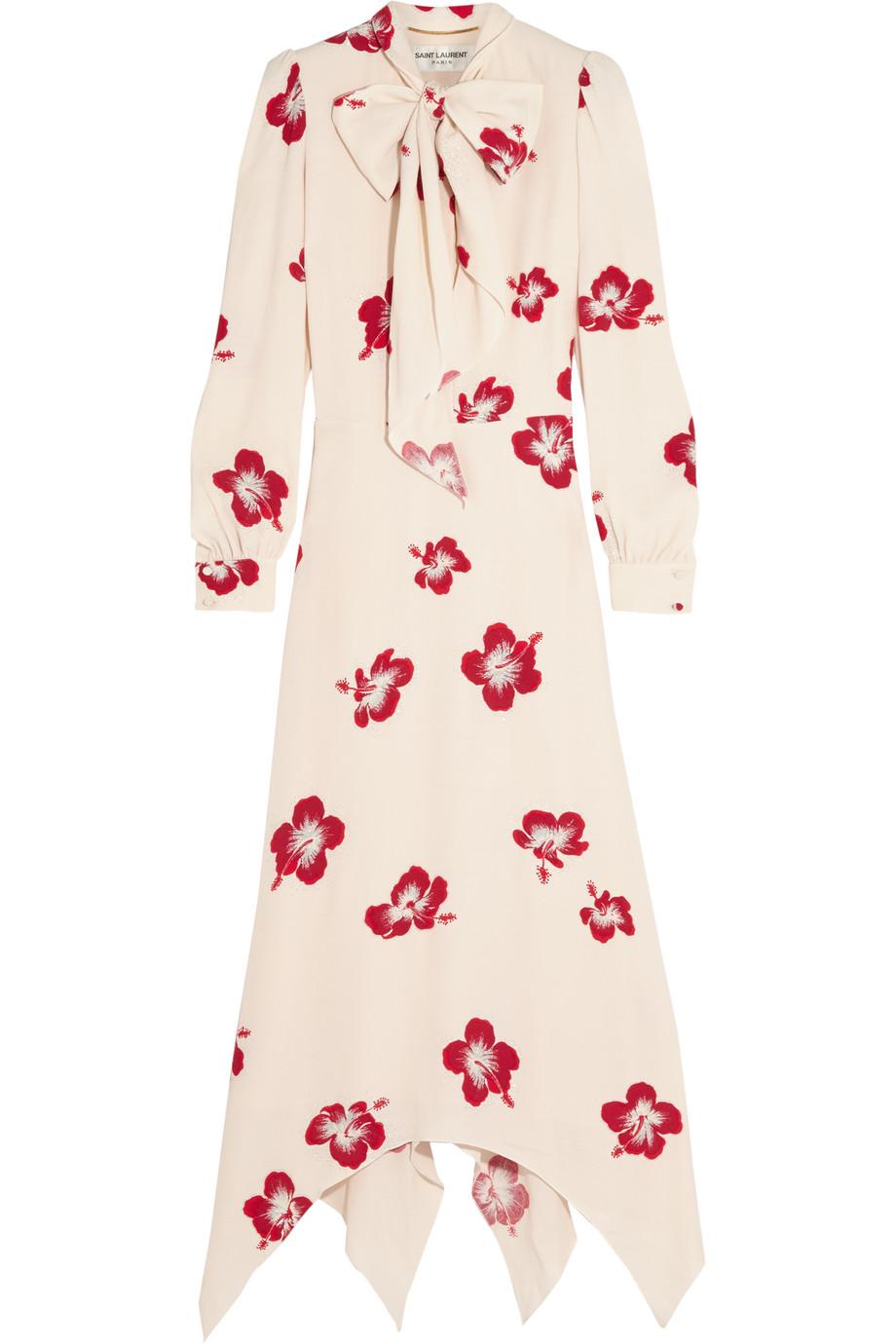 Saint Laurent Pussy-Bow Glittered Floral-Print Crepe Dress, Cream, Women's - Floral, Size: 34
