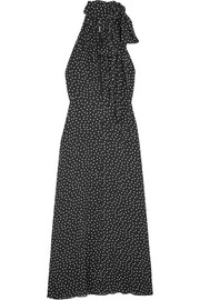 Saint Laurent Glittered polka-dot crepe midi dress