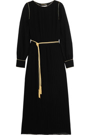 Saint Laurent Pleated crepe midi dress