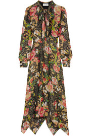 Saint Laurent Floral-print lamé midi dress