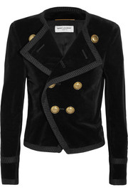 Saint Laurent Cropped double-breasted velvet blazer