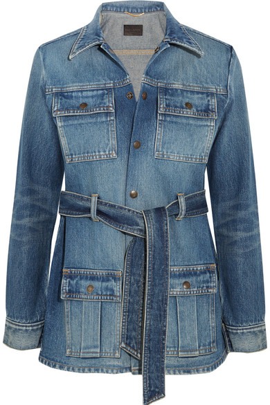Saint Laurent - Belted Denim Jacket - Mid denim