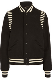 Saint Laurent Striped jersey-trimmed wool-blend piqué bomber jacket