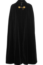Saint Laurent Embellished cotton-velvet cape