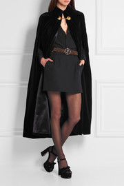 Embellished cotton-velvet cape