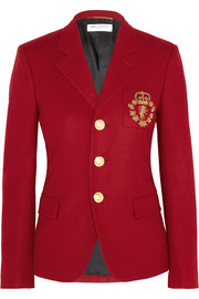 Embroidered wool-felt blazer