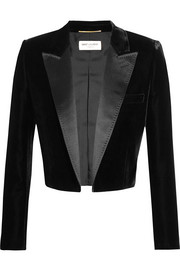 Saint Laurent Cropped satin-trimmed velvet blazer