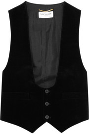 Saint Laurent Velvet and cotton-twill vest