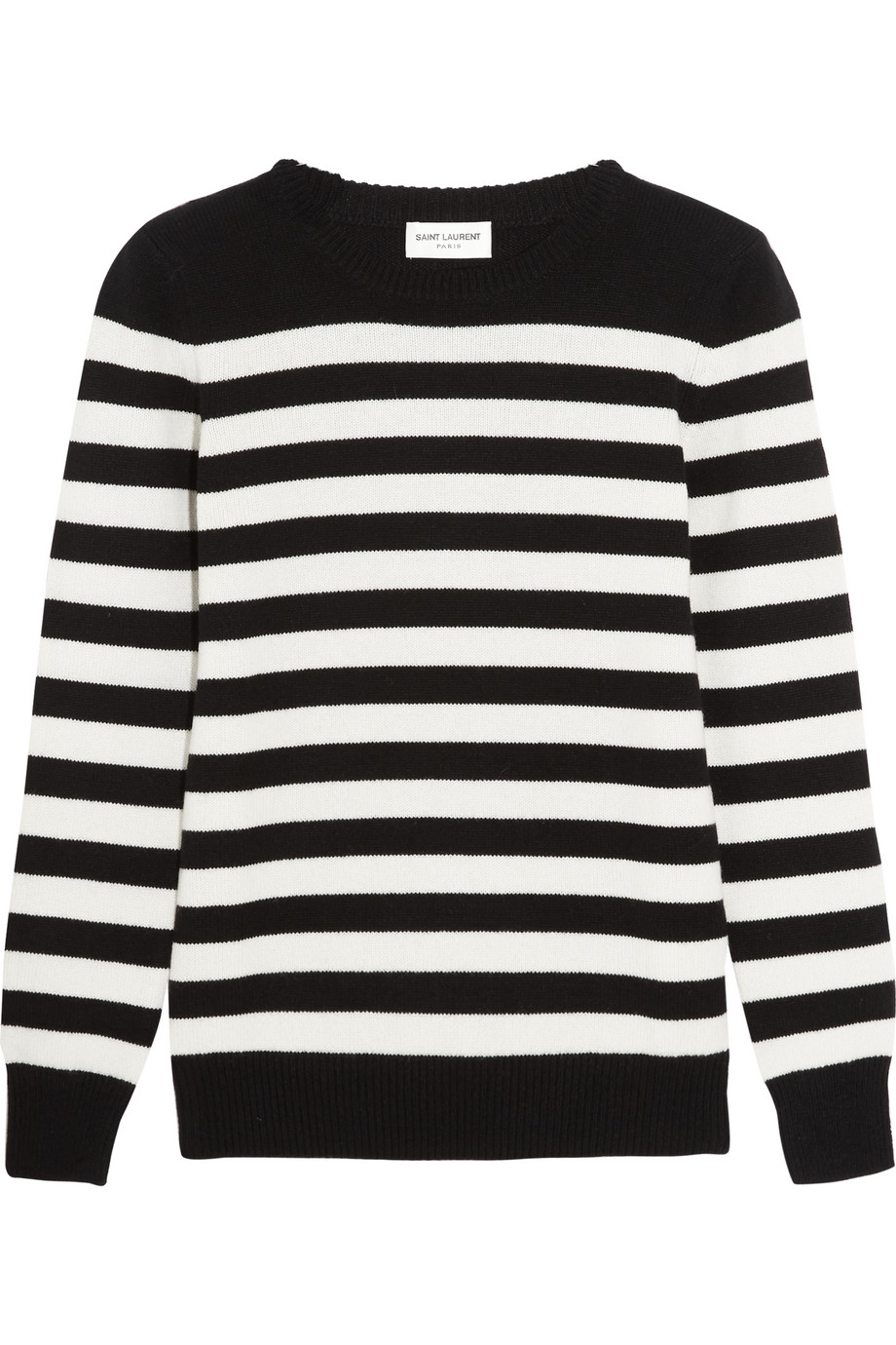 Saint Laurent Striped Cashmere Sweater, Black, Women's, Size: XS
