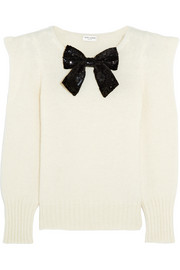 Saint Laurent Sequin bow-embellished knitted sweater