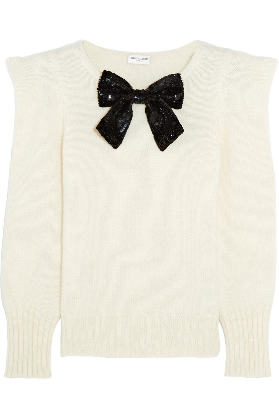 Saint Laurent Sequin Bow-Embellished Knitted Sweater, Ivory, Women's, Size: XL