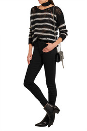 Saint Laurent Striped open-knit wool-blend sweater