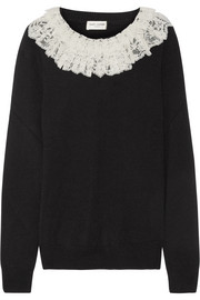 Saint Laurent Ruffled lace-trimmed cashmere sweater