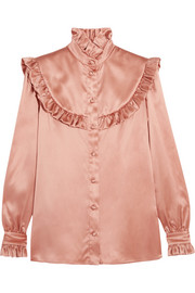Ruffled silk-satin blouse