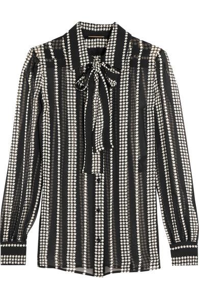 Saint Laurent - Pussy-bow Printed Silk-georgette Shirt - Black