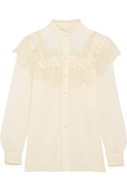 Ruffled lace-paneled cotton and silk-blend blouse