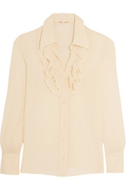 Ruffled silk-georgette shirt