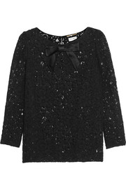 Saint Laurent Satin-trimmed guipure lace top