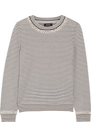 Flynn pointelle-trimmed striped cotton and cashmere-blend sweater