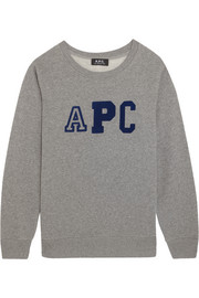 A.P.C. Atelier de Production et de Création Schoolgirl flocked cotton-blend fleece sweatshirt