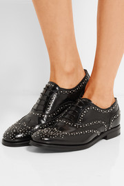 The Burwood Met studded glossed-leather brogues