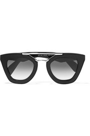 Prada D-frame textured-acetate and silver-tone sunglasses