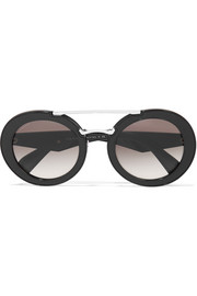 Prada Round-frame textured-acetate and silver-tone sunglasses