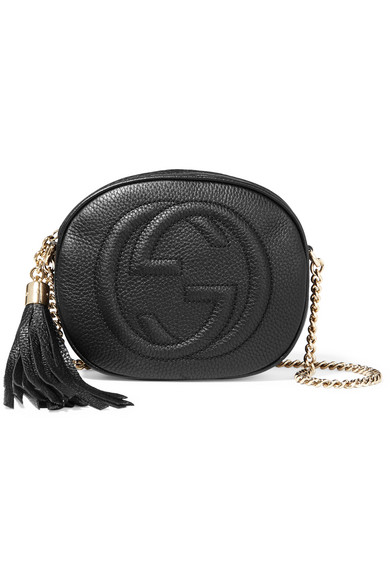 gucci female 188971 gucci soho mini texturedleather shoulder bag black
