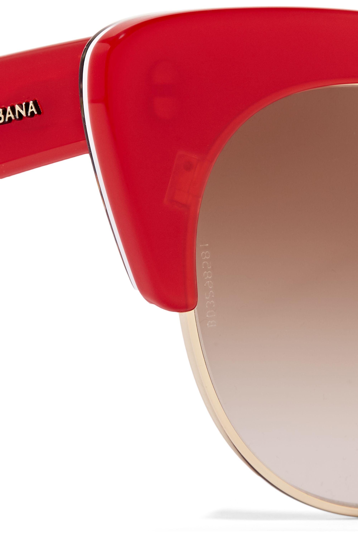Dolce & Gabbana Cat-eye gold-tone and acetate sunglasses