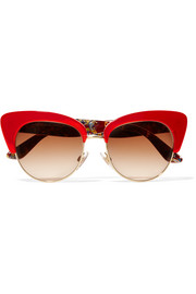 Dolce & Gabbana Cat-eye gold-tone and acetate sunglasses