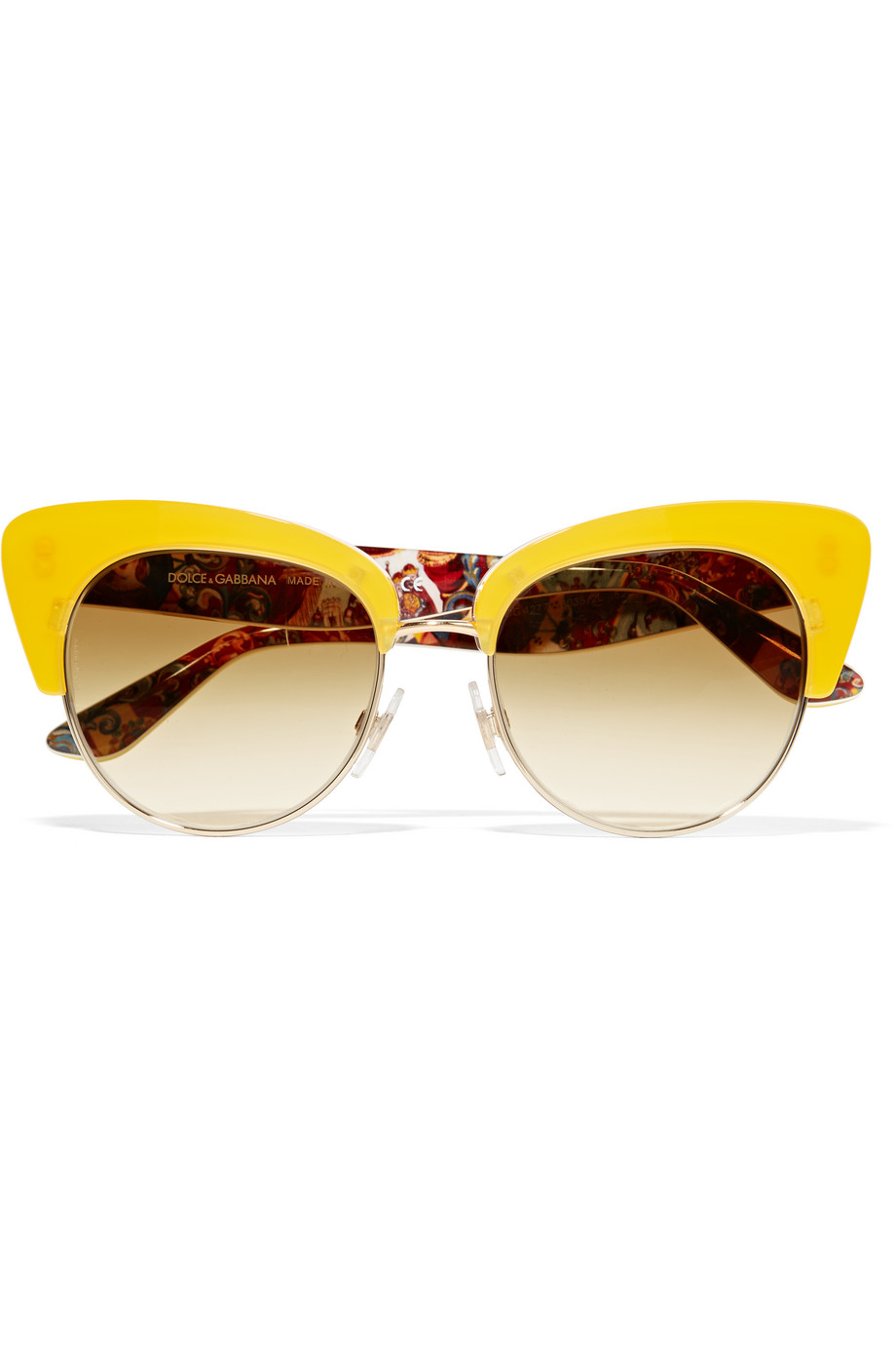 Dolce & Gabbana Cat-Eye Gold-Tone and Acetate Sunglasses, Yellow, Women's