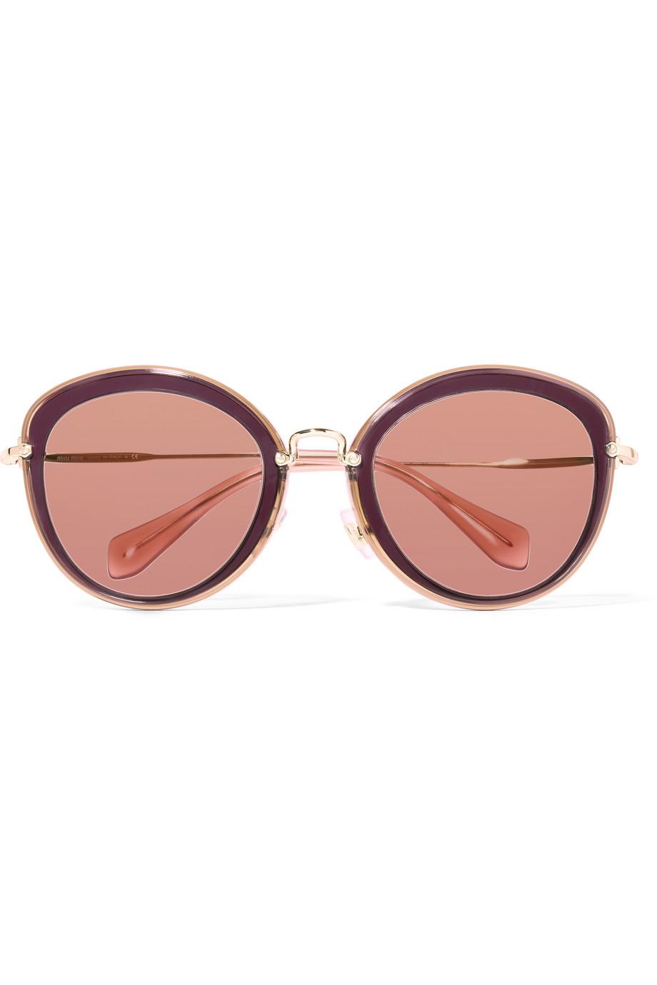 Miu Miu Noir Round-Frame Acetate and Gold-Tone Sunglasses