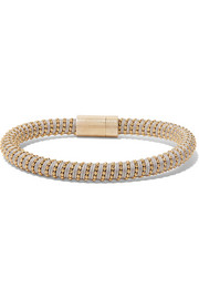 Twister 18-karat gold-plated and silk bracelet