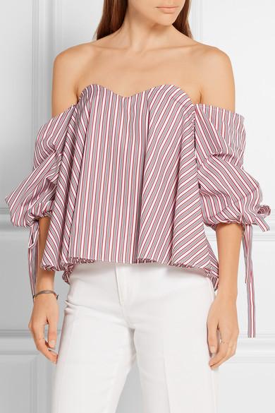 fc60c638867b6 Caroline Constas. Gabriella off-the-shoulder striped cotton bustier top