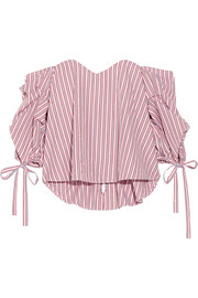 Gabriella off-the-shoulder striped cotton bustier top