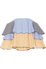 Carmen off-the-shoulder gingham cotton bustier top